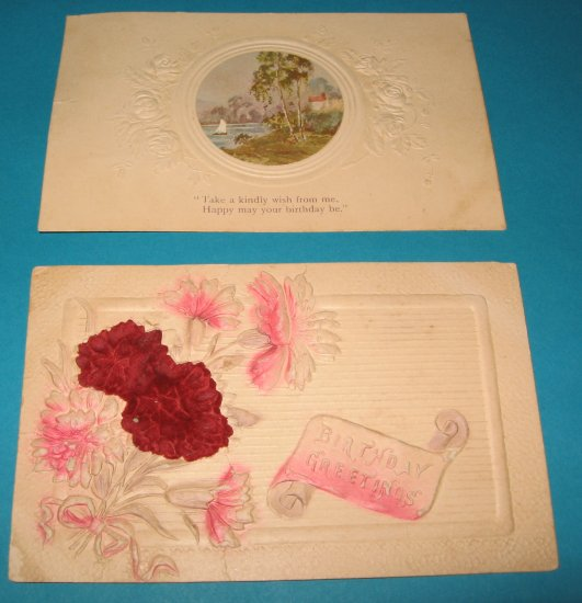 Vintage Birthday Postcards lot of 2 flowers and sailboat B22