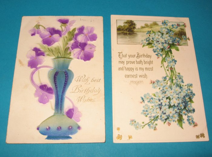 Birthday Postcards Embossed purple and blue flowers B23