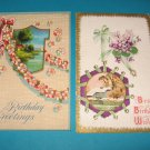 Birthday Postcards pink and green bows B25