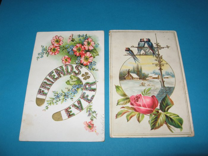 2 Vintage Postcards Birds and Flowers G17
