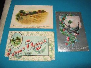 Lot of 3 Vintage Greeting Postcards