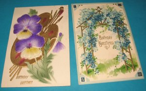 Birthday postcards pansy and blue flowers B28