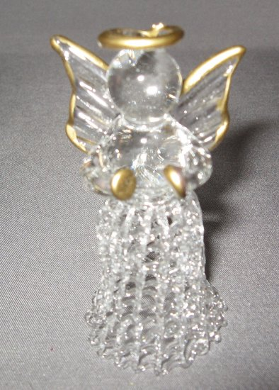 Glass Angel Holding cymbals with gold trim