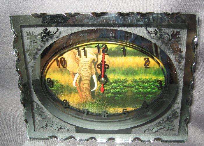 Elephant Glass Quartz etched clock