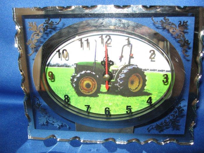 Green Tractor  Glass Quartz etched clock number 1