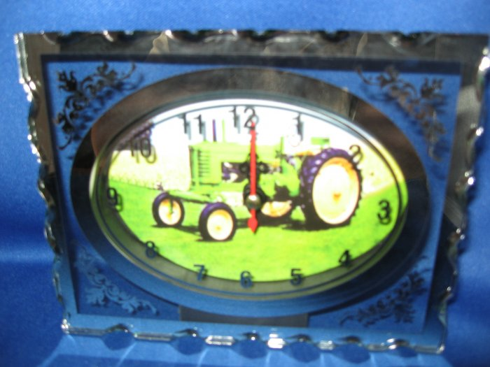 Green Tractor  Glass Quartz etched clock number 2
