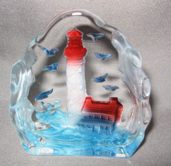 Lighthouse and seagulls Crystal Figurine