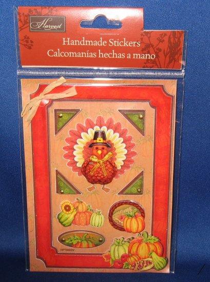 Turkey and pumpkins Thanksgiving Scrapbook stickers