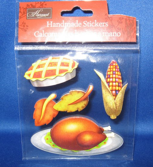 Turkey and corn Thanksgiving Stickers