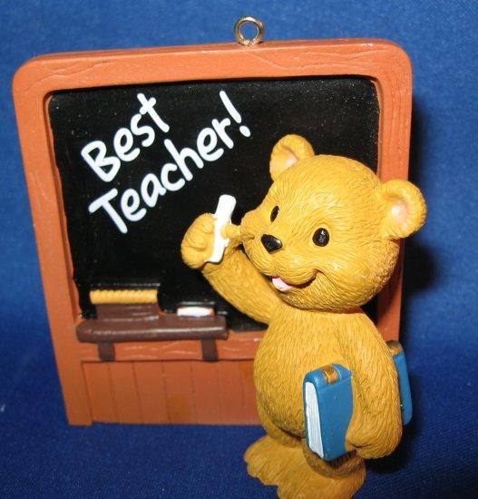 Best Teacher bear and slate ornament