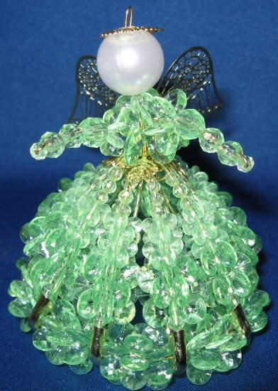 Mint Green Safety Pin beaded angel ornament