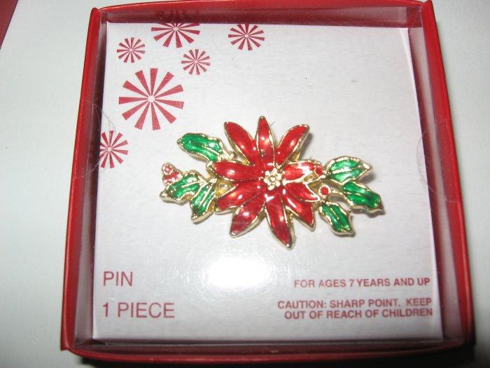 Poinsettia Christmas Pin