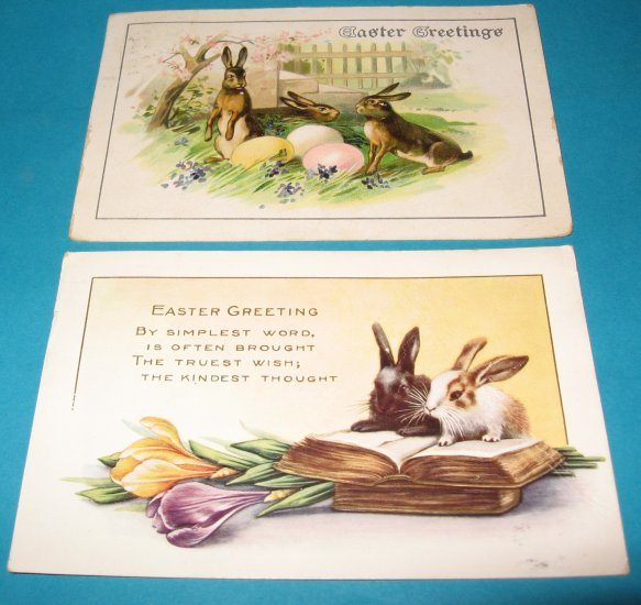 Easter Bunnies Postcards lot of 2 E28