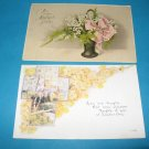 Easter Postcards lot of 2 cross and flowers E30