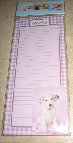 Dog with bows in hair magnetic list pad