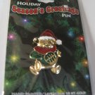Christmas Holiday Seasons Greetings Teddy Bear Pin