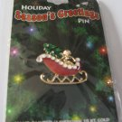 Christmas Holiday Seasons Greetings Sleigh  Pin