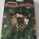 Christmas Holiday Seasons Greetings Wreath  Pin