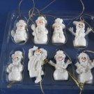 Glitter snowman Christmas Ornaments set of 8