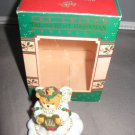 Angel Bear with harp Christmas Ornament Enesco 555487 c.1987