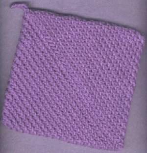 NEW handmade crocheted hot pad and dishcloth, purple in color