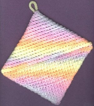 NEW 2 handmade crocheted hot pads variegated  colors