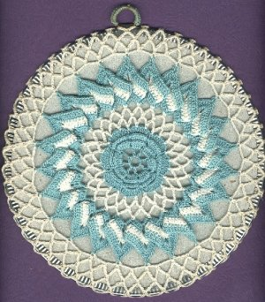 2  Hot Plate mat with crocheted cover vintage used