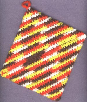 Crocheted hot pads variegated colors 2 new