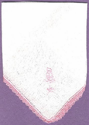 Handkerchief hankie Irish Linen crocheted edging and embroidered flower, vintage NEW