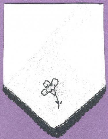 Handkerchief hankie Irish Line crocheted edging and embroidered flower, vintage NEW