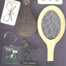 Tennis items key chain soap trophy & tac-backs & sm.wooden racquet
