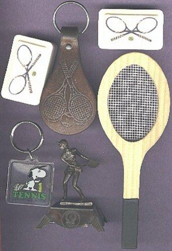 Tennis items key chain soap trophy & tac-backs & sm.wooden racquet