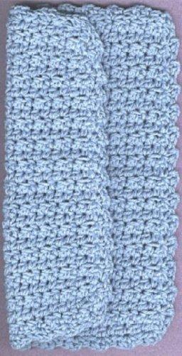Dishcloth handmade crocheted 4-ply cotton yarn blue 1 new