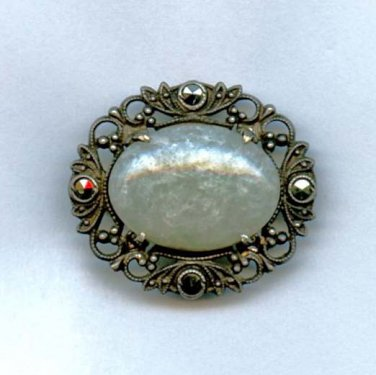 Brooch pin Sterling? agate center marcasites vintage new