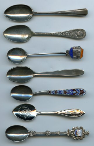 7 Vintage souvenir spoons some sterling