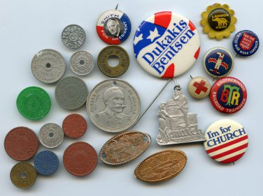 Some Political pinbacks and others plus tokens and metal items
