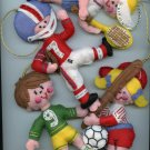 Christmas Set of 4 new vintage handmade soccer tennis baseball football felt sports ornaments