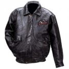 Casual Outfitters™ Hand-Sewn Rock Design Genuine Leather Jacket with Bull Rider Logo (Medium)