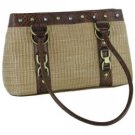 Gigi Chantal™ Tan Woven Purse with Brown Croco Trim