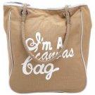 Gigi Chantal™ Tan and White Canvas Shopping Bag