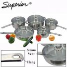 Superior 10 Piece Stainless Steel Cookware Set