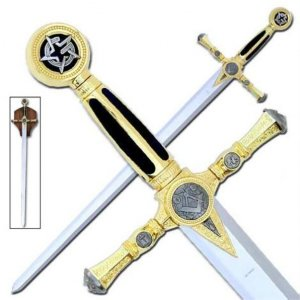 Masonic Black & Gold Sword & Plaque KS4915BK