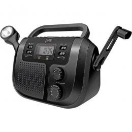 JWin Portable AM/FM Weather Band Radio With Flashlight And Crank Charger