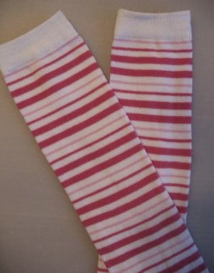 Pink and White Stripes Leggie Weggies, Baby Leg Warmers