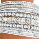Bangle Bracelet SILVER TONE Austrian Crystal  15 pc. set