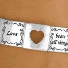 *Love* & cut out heart stretch bracelet POLISHED SILVER tone -W10730B