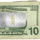 Money Clip two tone Christian FISH & CROSS