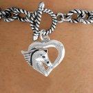 Bracelet Horse Head Heart silver tone toggle bracelet
