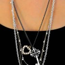 Necklace Heart & Key Drop triple tone Quad Chain