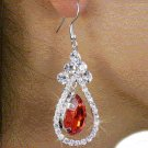 Tear Drop Faceted Stone EARRINGS with Genuine Austrian Cryst